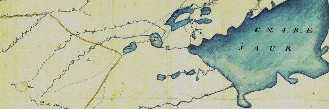 """Tässä 1800-luvun alkupuolen norjalaisessa kartassa ovat nimet Lemmijock ja Waskojock. Keltainen viiva on norjan lappalaisille vuokratun laidunalueen raja. Kartassa ovat näkyvillä myös silloidet """"kulkukeinot"""" eli talvitiet."""