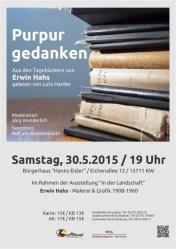 """""""Purpurgedanken"""" - Lesung aus den Tagebüchern von Erwin Hahs"""