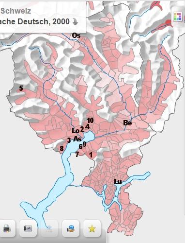 Deutsch im Tessin StatistischerAtlasderSchweiz-WohnbevölkerungmitHauptspracheDeutsch,2000
