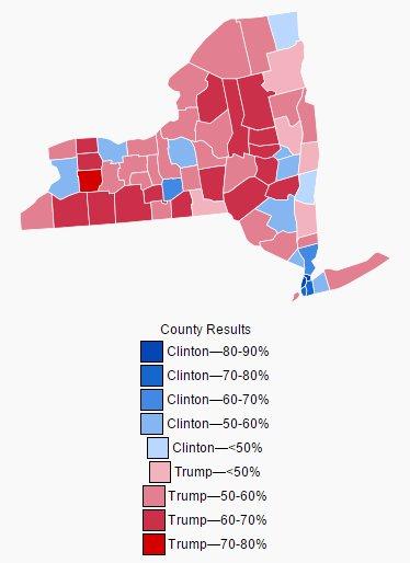 Die Präsidentschaftswahl 2016 im Staat New York nach Counties