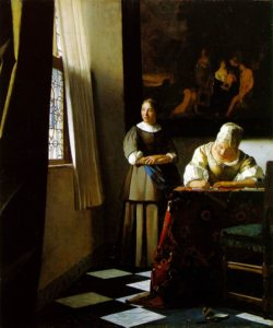 Lady writing a letter with her maid Vermeer