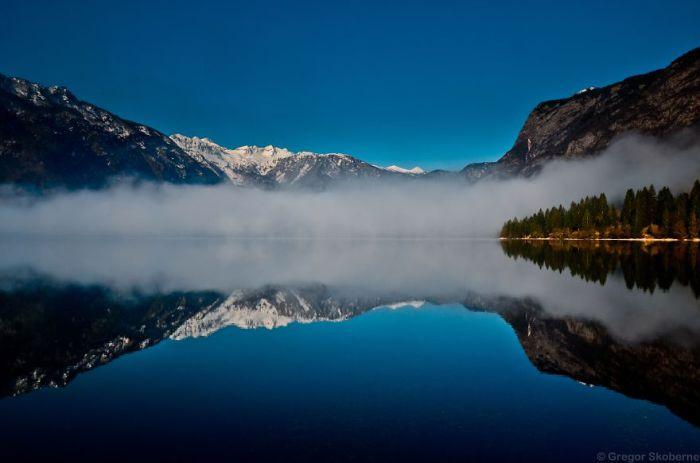 Призрачный туман на перекрестке зимы и осени.