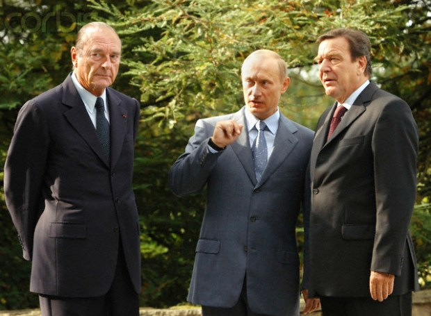 Chirac, Putin and Schroeder Attend Trilateral Meeting in Sochi