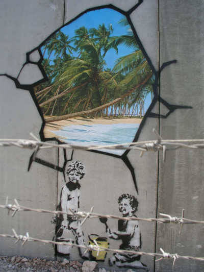 Banksy at the wall
