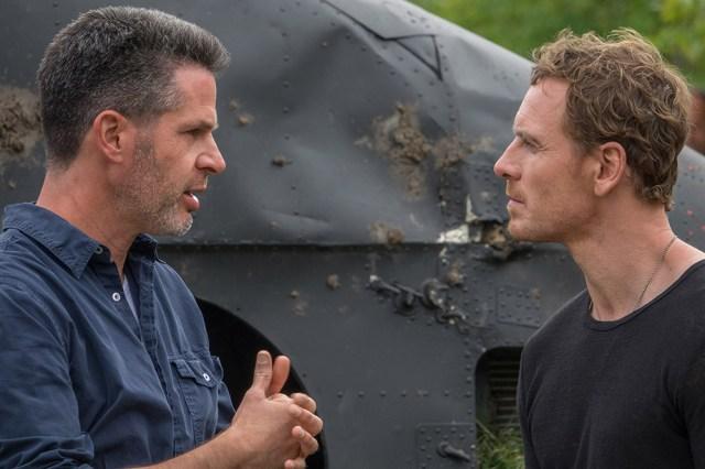 L-R: Simon Kinberg (director), Michael Fassbender (Magneto).