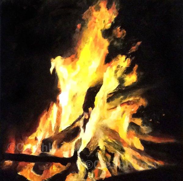 Original Feuer-Gemälde, 60 x 60 cm