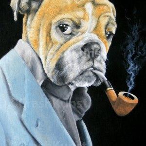 Pfeiffe rauchender Hund, Druck auf Leinwand, 40 x 30 cm