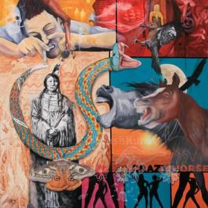 ein psychedellisches, surrealistisches collage artiges Gemälde von Krešimir Crash Vorich