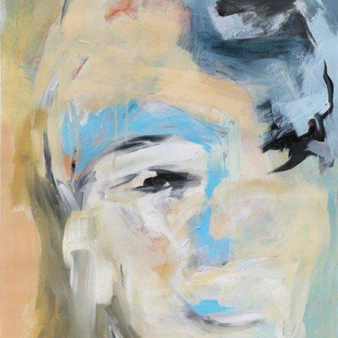Kopf Blau Ocker, Acryl auf Papier 48x68cm