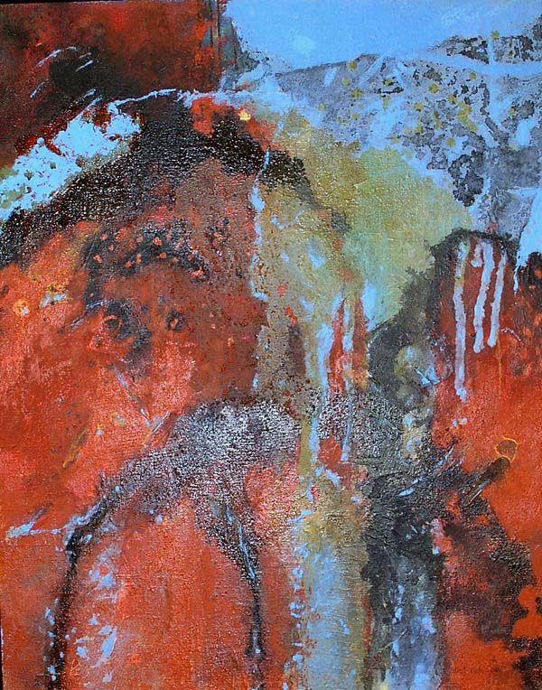Wassereinbruch - Malerei (Mischtechnik auf Leinwand)