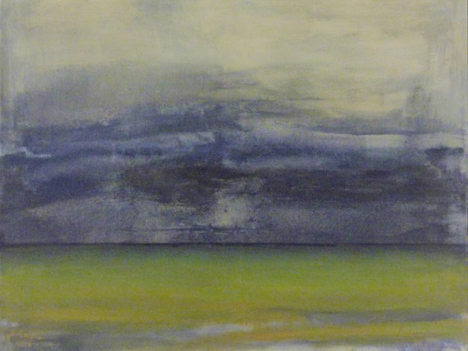 Rita Geissler - Regenwolken über dem Meer. Öl auf Leinwand 80 x 100 cm