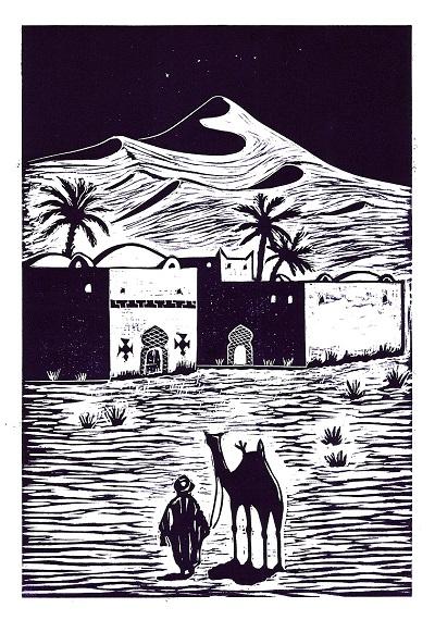 """Moussa Mbarek """"Der Gast"""" (Linolschnitt); Digitaldruck als Weihnachtskarte-Klappkarte (3 € inkl. Umschlag)"""