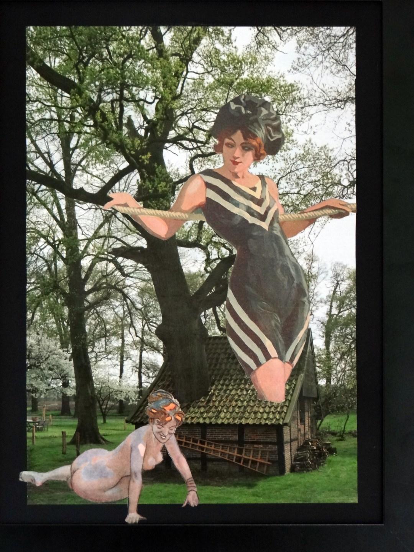 """Marten Bos, """"door het dak"""", collage, 30 x 40 cm"""
