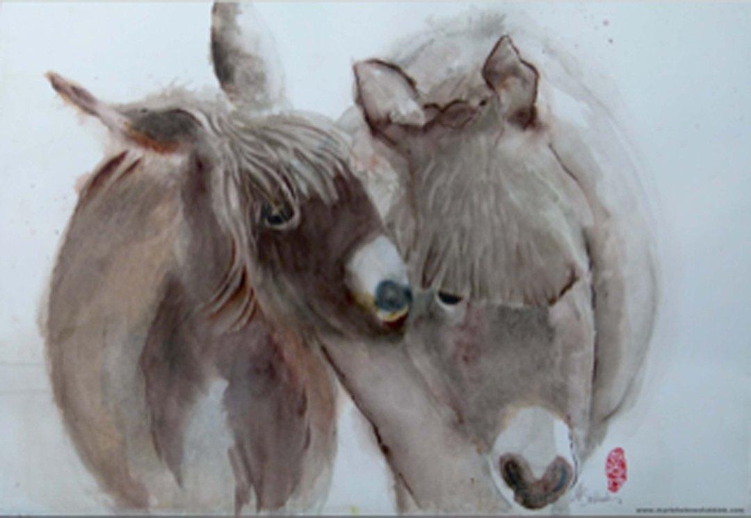 Les ânes (de ezeltjes), 50 x 70 cm