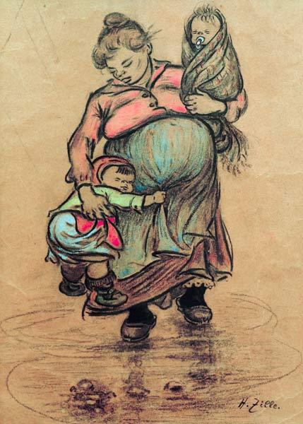 Zille, Heinrich : H.Zille, Mutter mit zwei K...