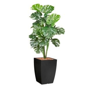 HTT - Kunstplant Monstera in Genesis vierkant antraciet H150 cm - kunstplantshop.nl