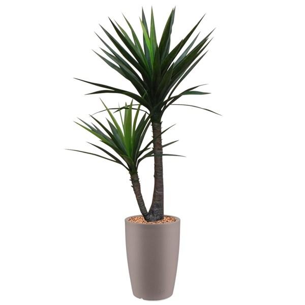 HTT - Kunstplant Yucca in Genesis rond taupe H150 cm - kunstplantshop.nl
