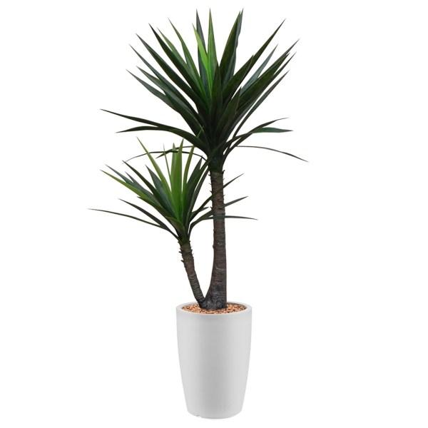 HTT - Kunstplant Yucca in Genesis rond wit H150 cm - kunstplantshop.nl
