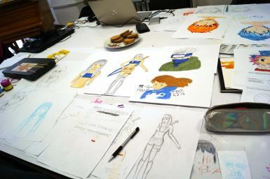 Die Teilnehmer des Workshops erschufen ihren eigenen Manga Character.