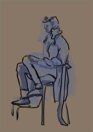 Modell, sitzend, mit Konturen und Grautönen. (Moni)