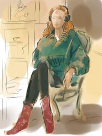 Modell, sitzend mit Kopfhörern. Farbige Darstellung mit Outlines und Schatten. (Viktoriya Korshunova)