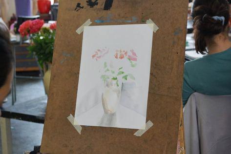 Aquarellmalerei: Blumenstrauß mit vielen weißen Flächen