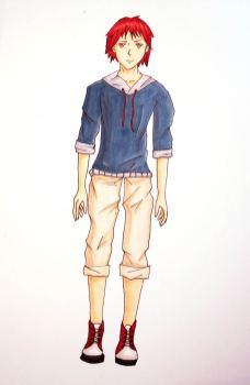 Mangacharakter: Junge mit roten Haaren, Darstellung mit Copicmarkern