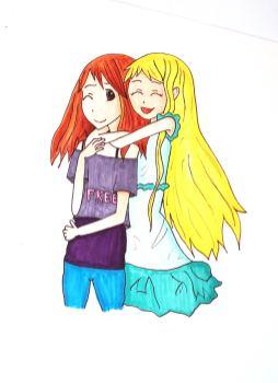 zwei sich umarmende, lachende Mangamädchen