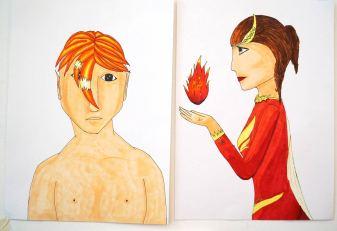 Zwei Mangacharaktere: ein Junge mit orangenem Haar von vorne, eine Frau mit Flammenball in seitlicher Darstellung.