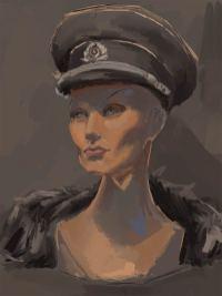 Zeichnen nach Objekt: Puppenkopf mit Uniformmütze, farbige Abbildung in Brauntönen. (Viktoriya Korshunova)