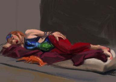 Modell mit Kleidung und Meerestier, liegend. Farbige Darstellung und leichte perspektivische Verkürzung. (Mallou)