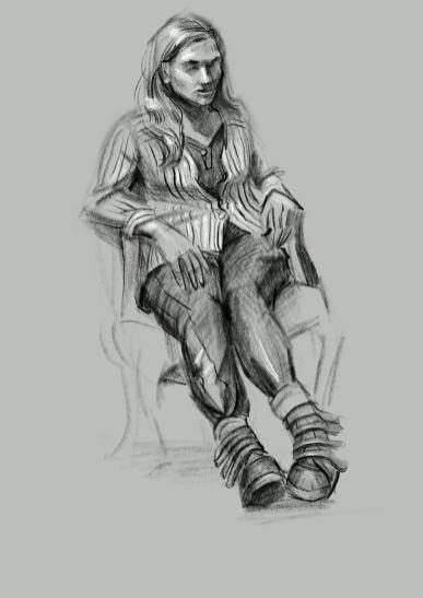Modell bekleidet, sitzend, schwarz-weiß. (Malou)