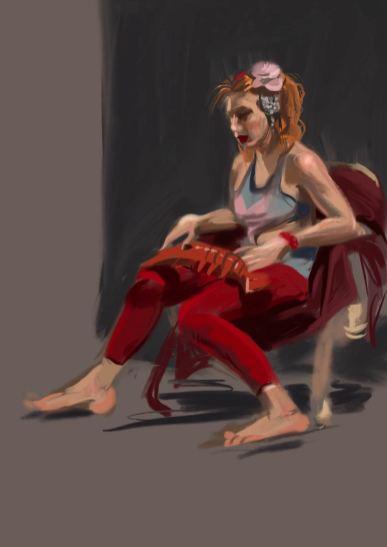 Modell sitzend, mit Meerestier, farbige Abbildung. (Malou)