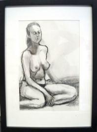 Weiblicher Akt sitzend, Bleistiftzeichnung