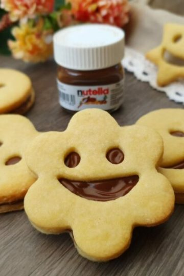 Smiley Kekse Mürbteig Füllung Nutella