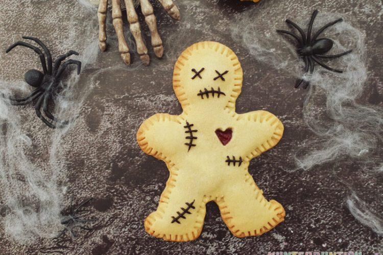 Halloween Voodoo-Keks Plätzchen Mürbteig Marmelade