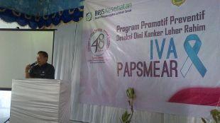 Tim BPJS Kabupaten Bogor dan Dinas Kesehatan berikan pemahaman bahaya penyakit kangker leher rahim (dok. KM)