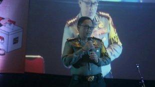 Kapolresta Bogor Kombes Pol Ulung Sampurna Jaya saat memberi sambutan di Deklarasi Kampanye Damai KPUD Kota Bogor, Minggu 18/02/2018 (dok. KM)