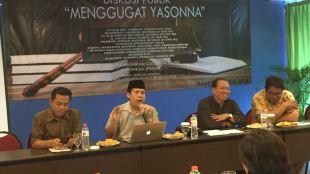Diskusi publik Direktur CBA Uchok Sky Khadafi, Karyono Wibowo, Gunawan di Hotel Ibis Jakarta Pusat, Selasa 24/4 (dok. KM)
