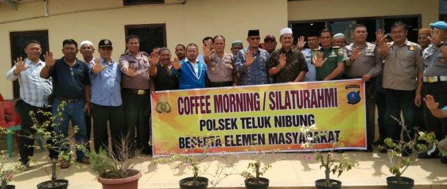 Coffee morning dan silaturahmi Kapolsek Teluk Nibung Kota Tanjungbalai bersama elemen masyarakat Kecamatan Teluk Nibung, Tanjungbalai, Rabu 30/10/2019 (dok. KM)