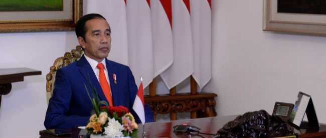 Presiden Joko Widodo mengikuti KTT Gerakan Non-Blok secara virtual dari Istana Merdeka, Jakarta, Senin 4/5/2020 (dok. Setpres)