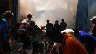 Gudang penyimpanan majun di Tanjungsiang, Subang, terbakar (dok. KM)