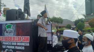 "Pengunjuk rasa yang tergabung dalam Aliansi Umat Islam Kota Tanjungbalai dalam ""Aksi Bela Rasulullah SAW"", Jumat 6/11/2020 (dok. KM)"