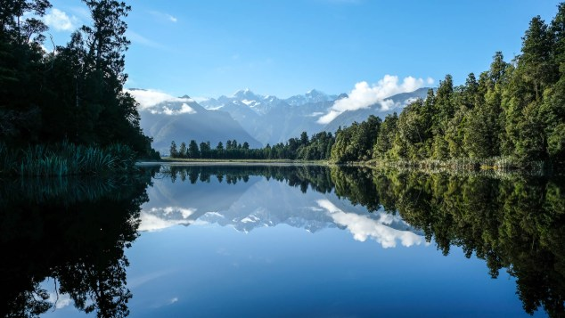 Lake Matheson Reflektion Von Mount Cook Und Mount Tasman