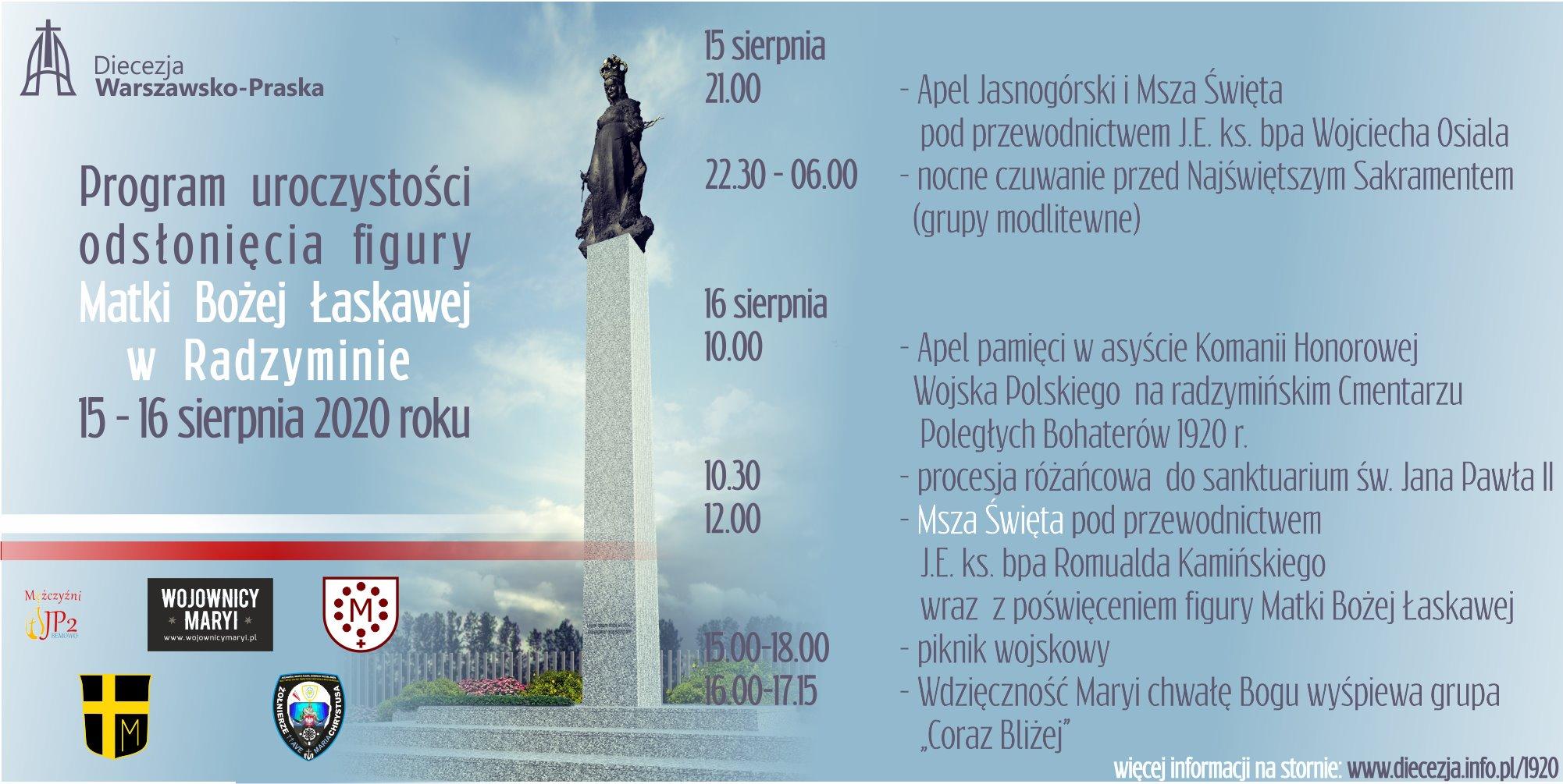 15 – 16.08 Program uroczystości odsłonięcia figury Matki Bożej Łaskawej w Radzyminie