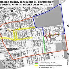 Uwaga! Od poniedziałku, 26 kwietnia utrudnienia związane z przebudową ul. Szwoleżerów