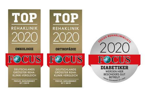 Die 3 Focus Top-Siegel 2020, mit welchen die Kurpark-Klinik ausgezeichnet wurde