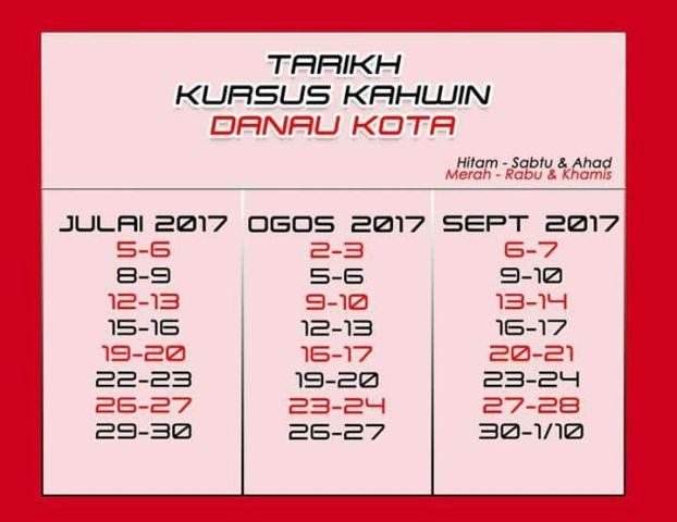 tarikh kursus kahwin danau kota ogos 2017 hingga september 2017