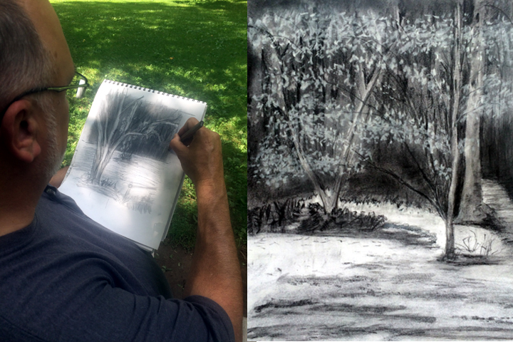 Landscape drawing by private student at state park