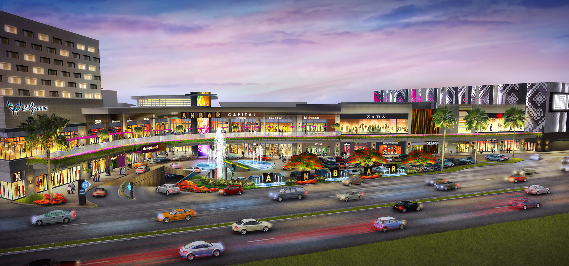 Shopping Center PROJECT PAGE   Kurt Struve Architectural Illustrator     Fashion Mall Exterior